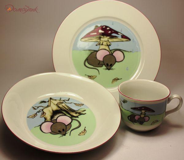 """Детский набор посуды """"Мышки"""", 3 предмета"""