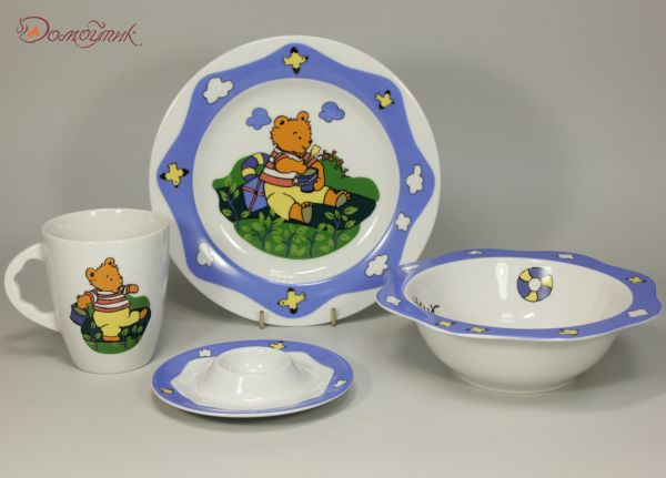 """Детский набор посуды """"Мишка-моряк"""" (4 предмета)"""