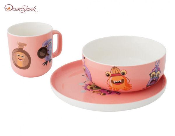 Детский набор посуды 3 пр. (розовый)