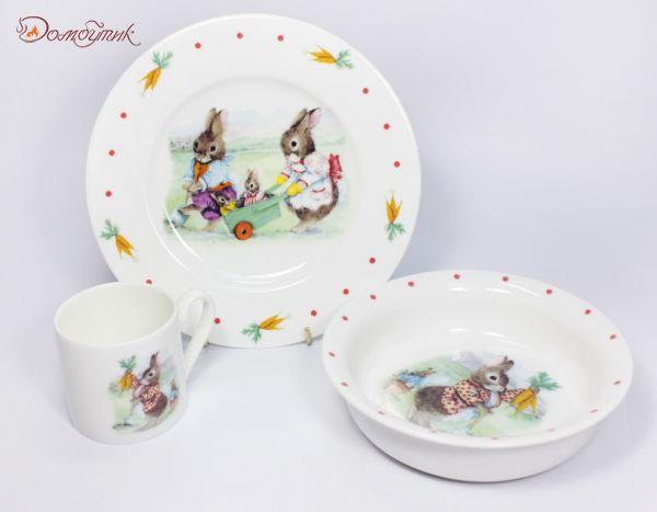 """Детский набор посуды """"Кролики"""" 3 пр."""