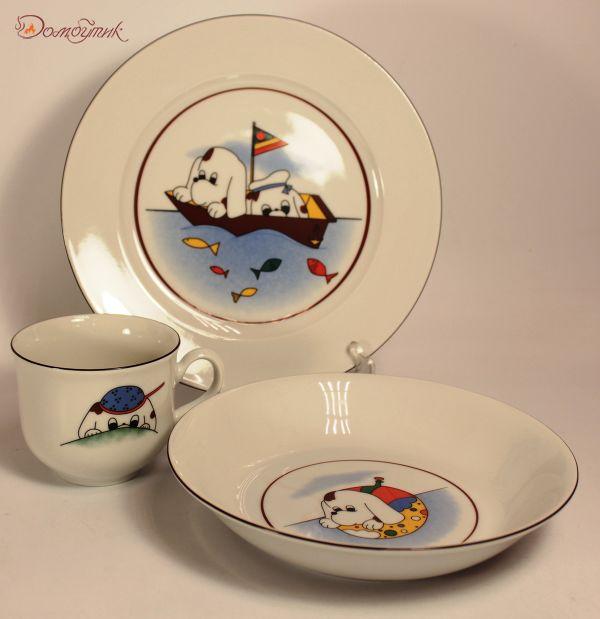 """Детский набор посуды """"Морское путешествие"""" 3 предмета"""