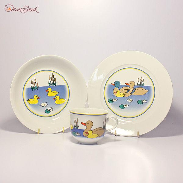 """Детский набор посуды """"Уточки на пруду"""" 3 предмета"""