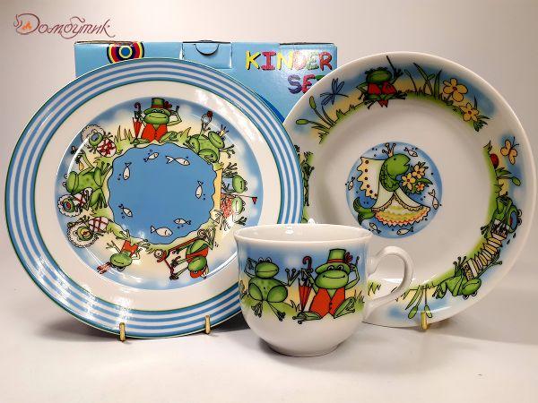 """Детский набор посуды """"Зелёная семейка"""" 3 предмета"""