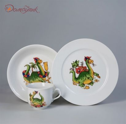 """Детский набор посуды """"Динозаврик"""" 3 предмета"""
